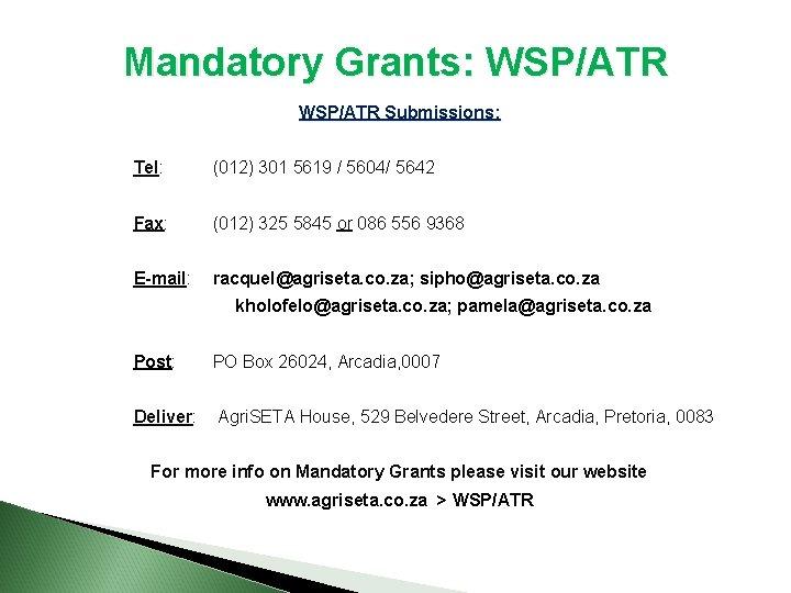 Mandatory Grants: WSP/ATR Submissions: Tel: (012) 301 5619 / 5604/ 5642 Fax: (012) 325