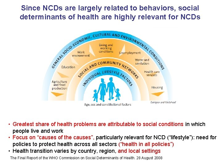 Since NCDs are largely related to behaviors, social determinants of health are highly relevant