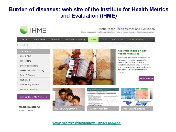 Burden of diseases: web site of the Institute for Health Metrics and Evaluation (IHME)