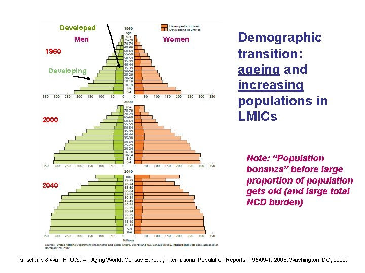 Developed Men 1960 Developing 2000 2040 Women Demographic transition: ageing and increasing populations in