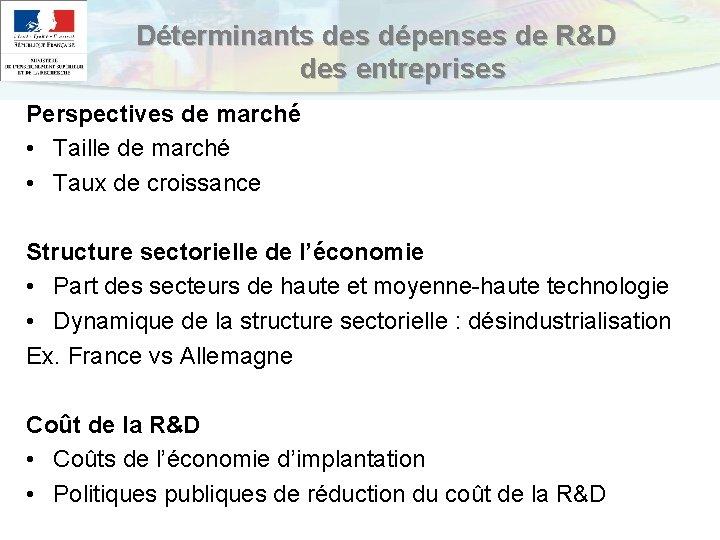 Déterminants des dépenses de R&D des entreprises Perspectives de marché • Taille de marché