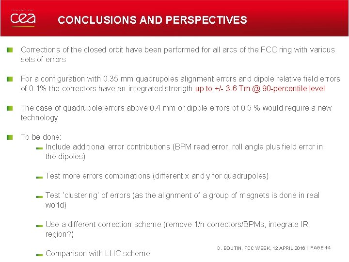 CONCLUSIONS AND PERSPECTIVES Corrections of the closed orbit have been performed for all arcs