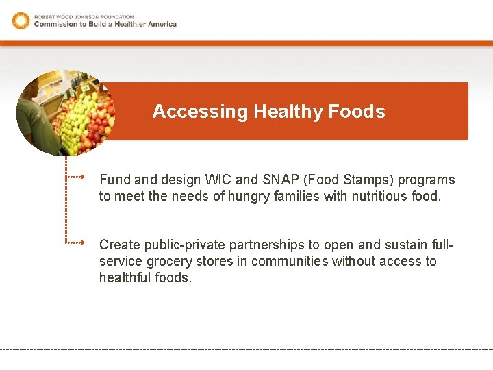 Accessing Healthy Foods Fund and design WIC and SNAP (Food Stamps) programs to meet