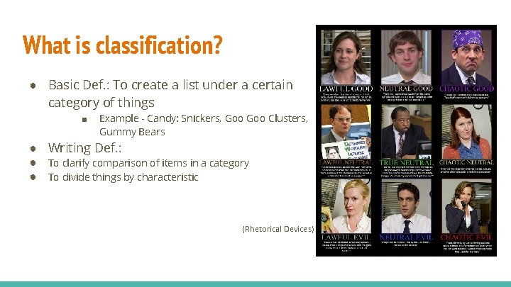 What is classification? ● Basic Def. : To create a list under a certain