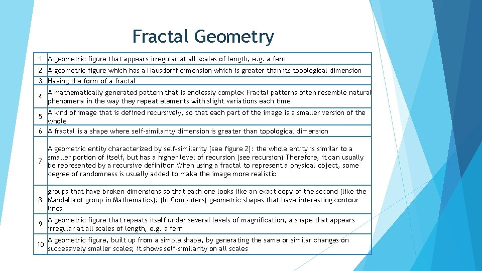 Fractal Geometry 1 A geometric figure that appears irregular at all scales of length,