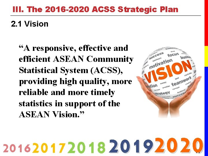 """III. The 2016 -2020 ACSS Strategic Plan 2. 1 Vision """"A responsive, effective and"""