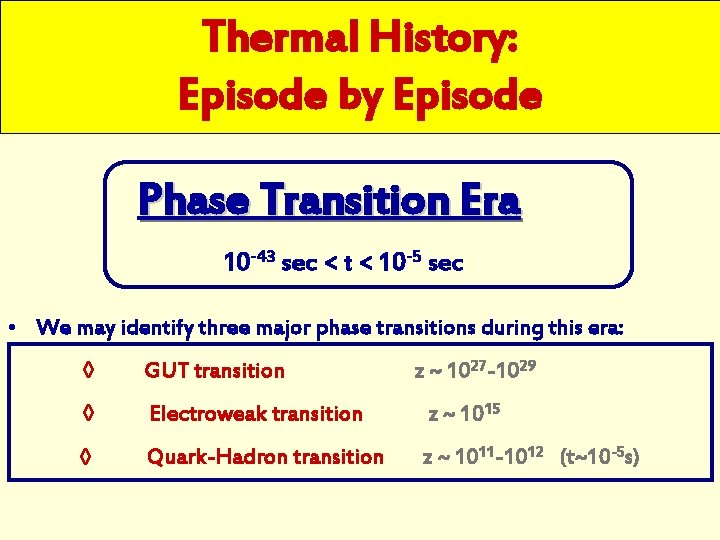 Thermal History: Episode by Episode Phase Transition Era 10 -43 sec < t <