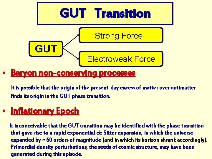 GUT Transition Strong Force GUT Electroweak Force • Baryon non-conserving processes It is possible