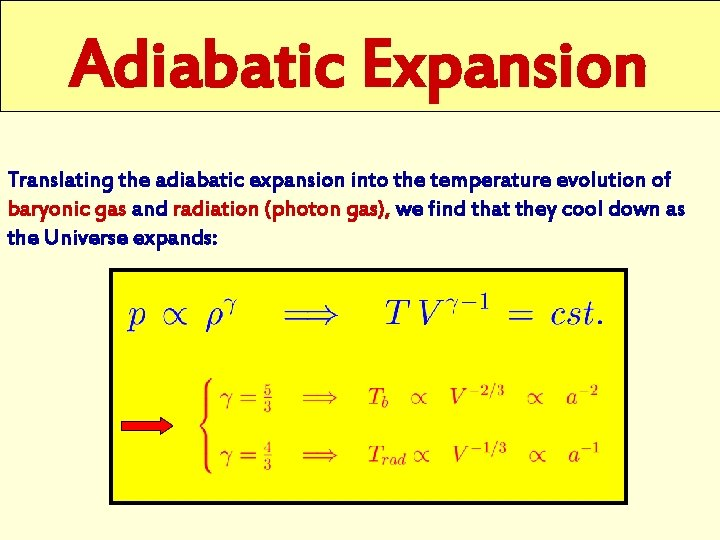 Adiabatic Expansion Translating the adiabatic expansion into the temperature evolution of baryonic gas and