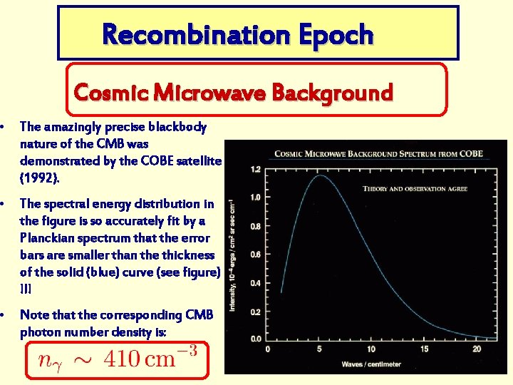 Recombination Epoch Cosmic Microwave Background • The amazingly precise blackbody nature of the CMB