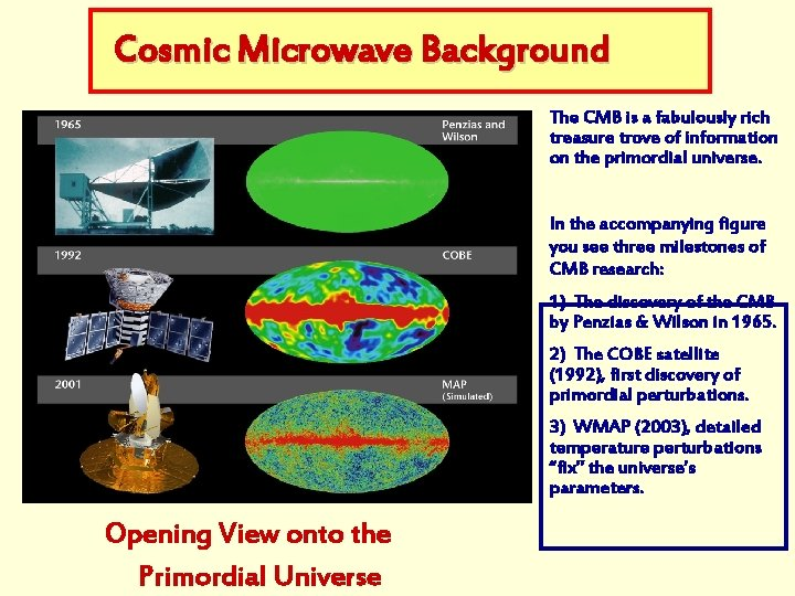 Cosmic Microwave Background The CMB is a fabulously rich treasure trove of information on