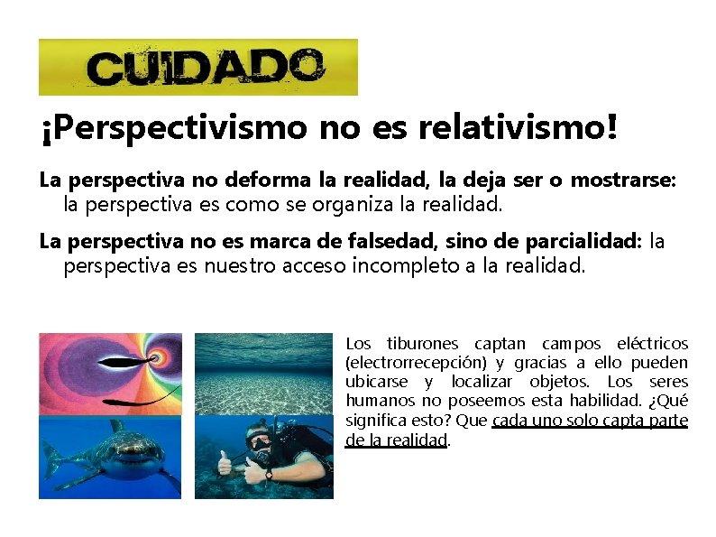 ¡Perspectivismo no es relativismo! La perspectiva no deforma la realidad, la deja ser o