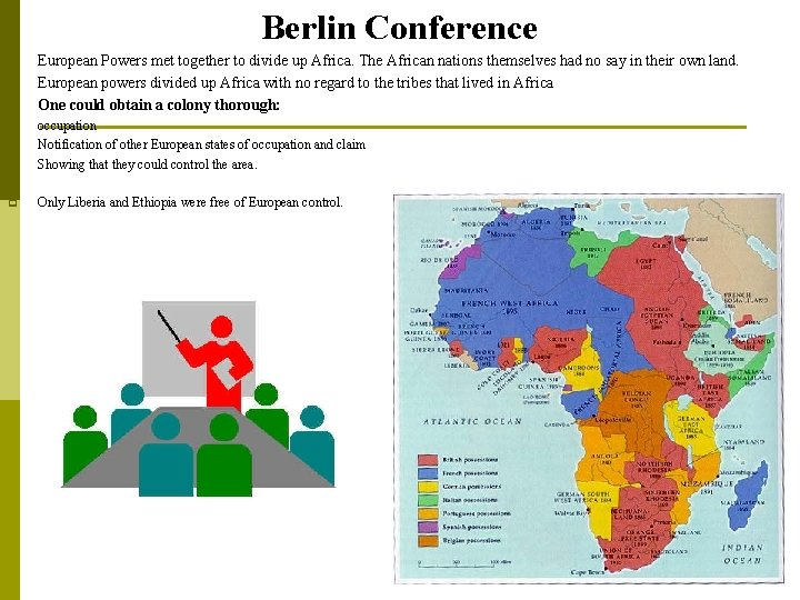 Berlin Conference p p p European Powers met together to divide up Africa. The