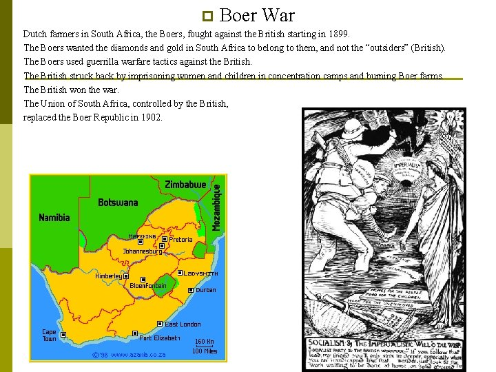p p p p Boer War Dutch farmers in South Africa, the Boers, fought