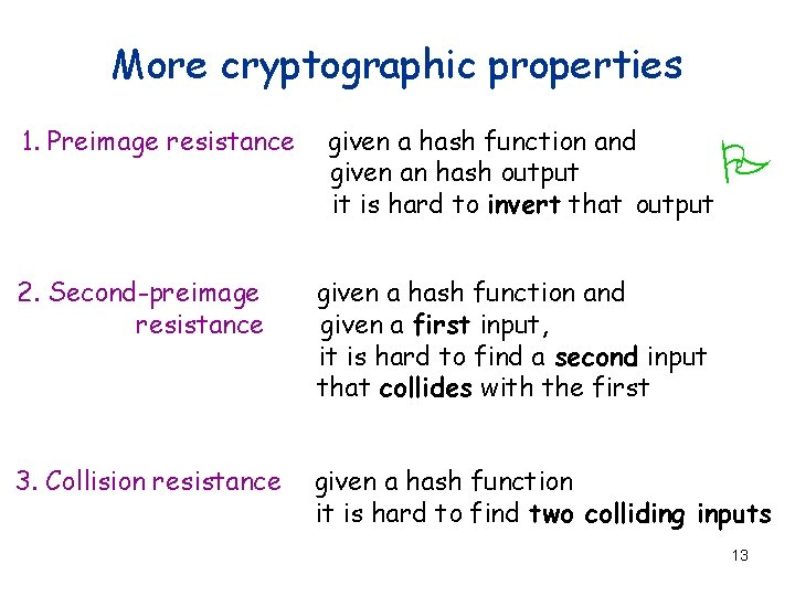 More cryptographic properties 1. Preimage resistance given a hash function and given an hash