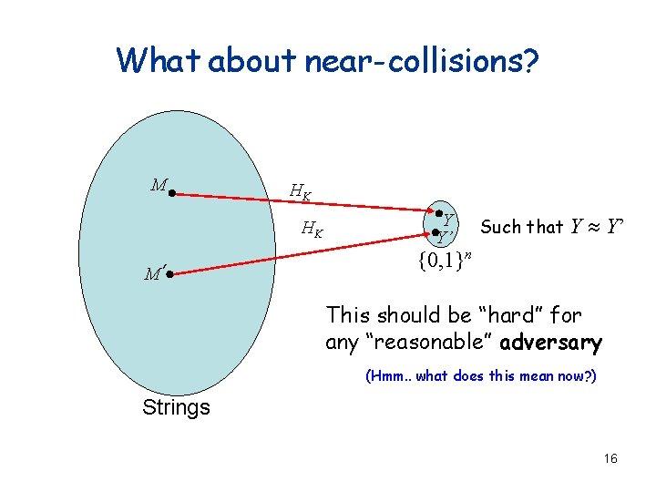 What about near-collisions? M HK HK M' Y Y' Such that Y » Y'