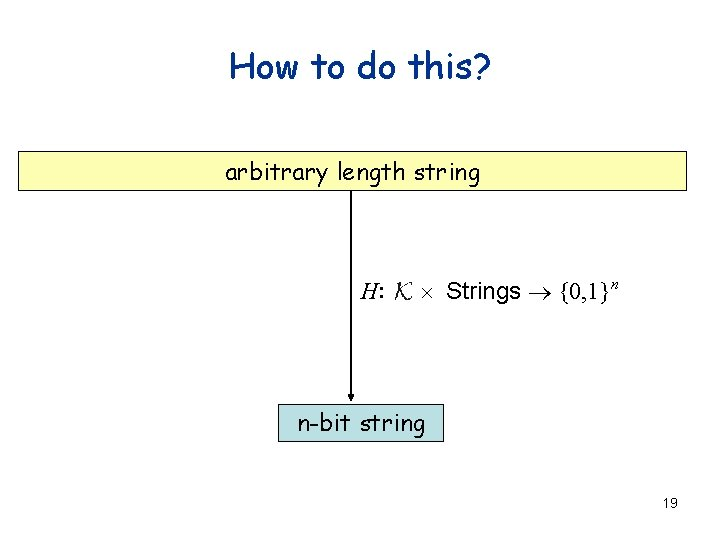 How to do this? arbitrary length string H: ´ Strings ® {0, 1}n n-bit