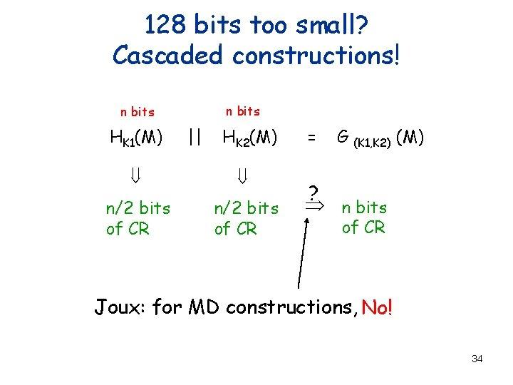 128 bits too small? Cascaded constructions! n bits HK 1(M) || HK 2(M) ß