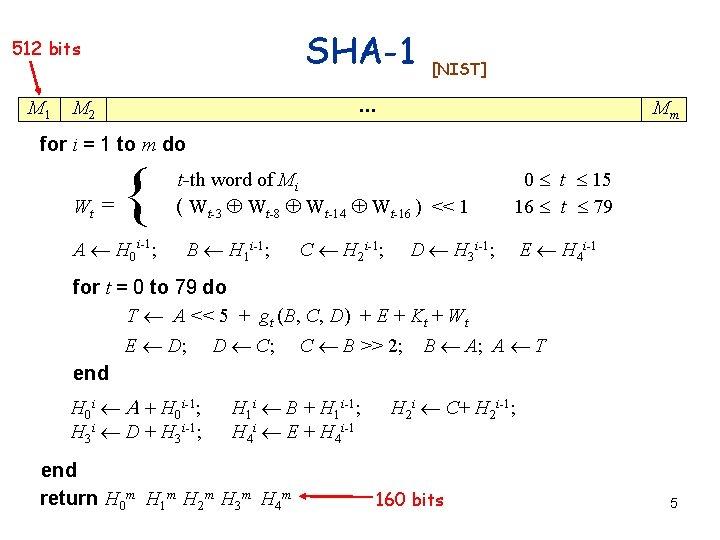 SHA-1 512 bits M 1 [NIST] . . . M 2 Mm for i