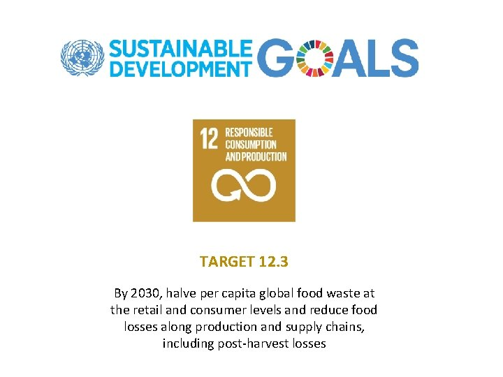 TARGET 12. 3 By 2030, halve per capita global food waste at the retail