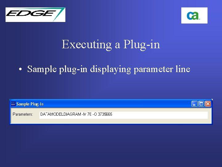 Executing a Plug-in • Sample plug-in displaying parameter line