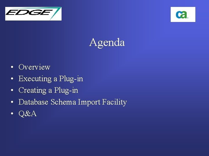 Agenda • • • Overview Executing a Plug-in Creating a Plug-in Database Schema Import