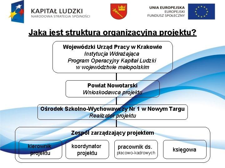Jaka jest struktura organizacyjna projektu? Wojewódzki Urząd Pracy w Krakowie Instytucja Wdrażająca Program Operacyjny