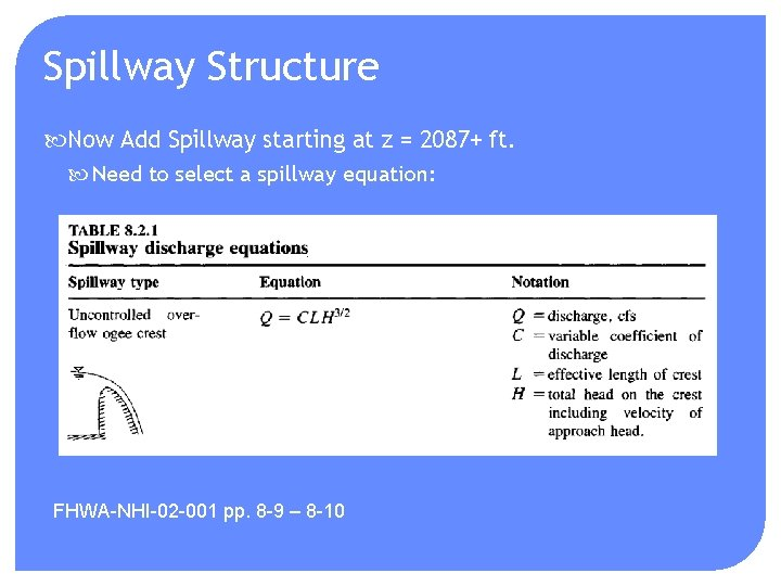 Spillway Structure Now Add Spillway starting at z = 2087+ ft. Need to select