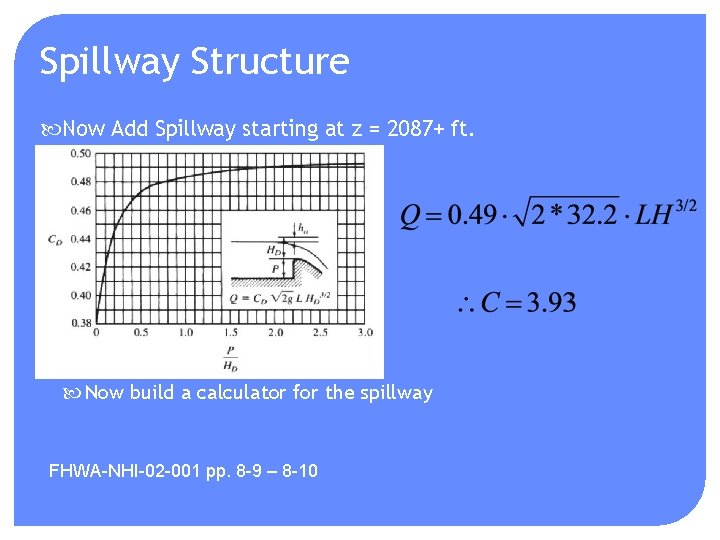 Spillway Structure Now Add Spillway starting at z = 2087+ ft. Now build a