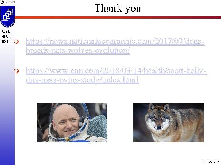 Thank you CSE 4095 5810 m https: //news. nationalgeographic. com/2017/07/dogsbreeds-pets-wolves-evolution/ m https: //www. cnn.