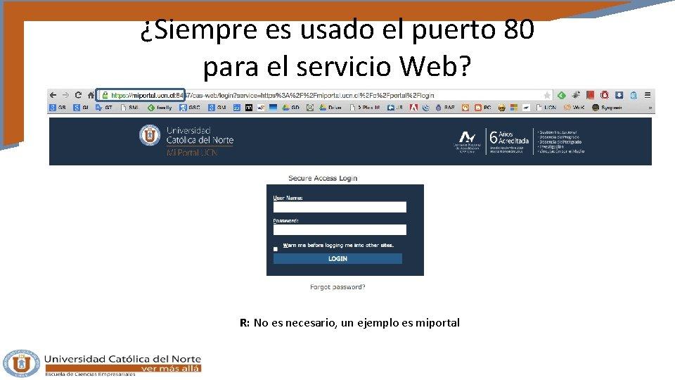 ¿Siempre es usado el puerto 80 para el servicio Web? R: No es necesario,