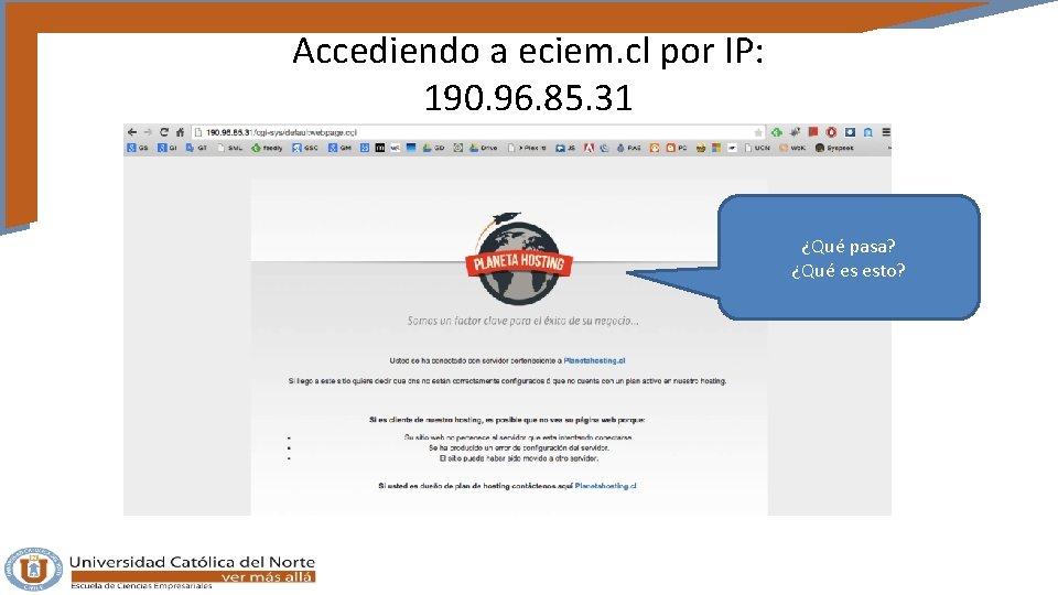 Accediendo a eciem. cl por IP: 190. 96. 85. 31 ¿Qué pasa? ¿Qué es