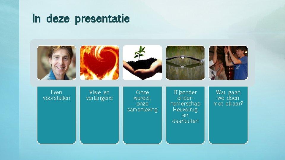 In deze presentatie Even voorstellen Visie en verlangens Onze wereld, onze samenleving Bijzondernemerschap Heuvelrug