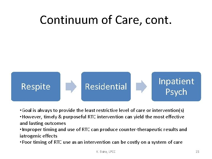 Continuum of Care, cont. Respite Residential Inpatient Psych • Goal is always to provide