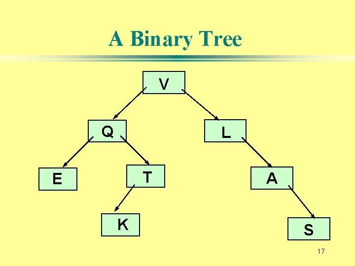 A Binary Tree V Q L T E K A S 17