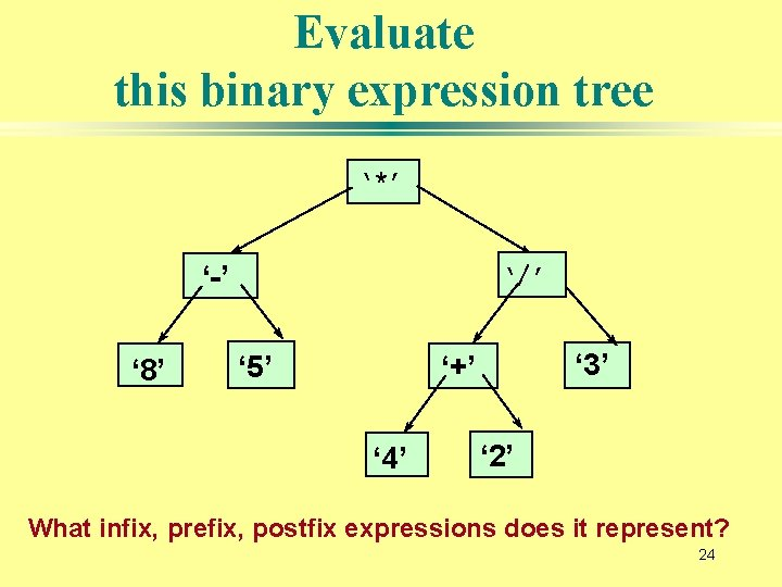 Evaluate this binary expression tree '*' '-' ' 8' '/' ' 5' ' 3'