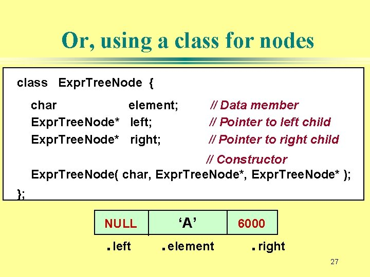 Or, using a class for nodes class Expr. Tree. Node { char element; Expr.