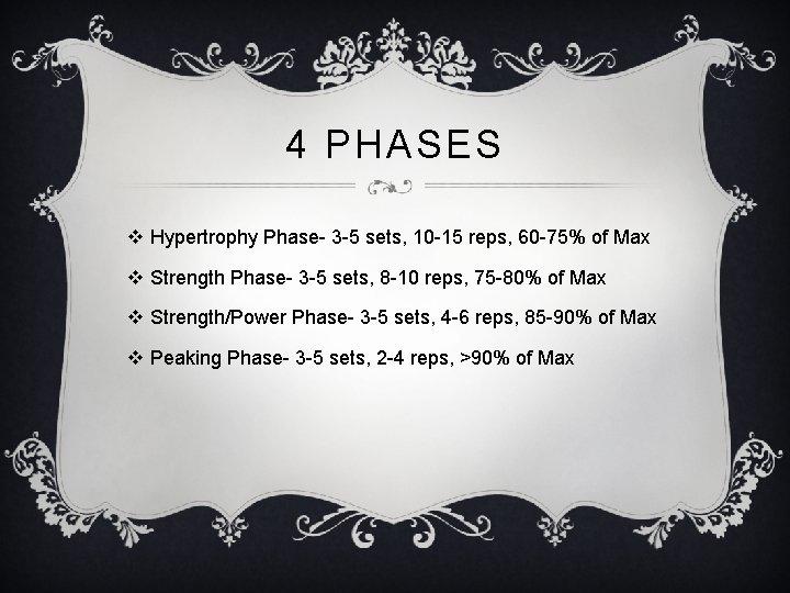 4 PHASES v Hypertrophy Phase- 3 -5 sets, 10 -15 reps, 60 -75% of