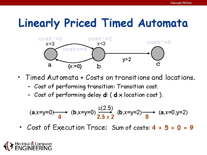 Linearly Priced Timed Automata cost'=1 x<3 cost'=2 cost+=4 cost'=0 x<3 y>2 a {x: =0}