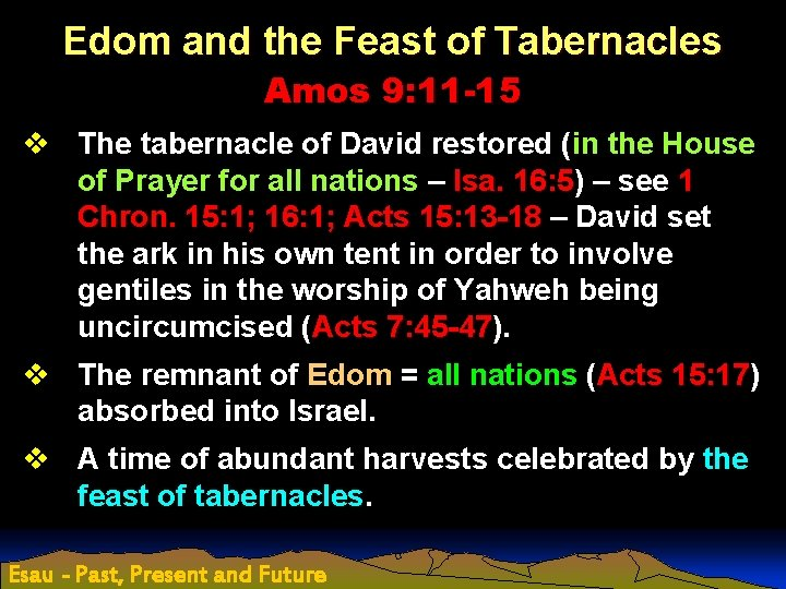 Edom and the Feast of Tabernacles Amos 9: 11 -15 v The tabernacle of