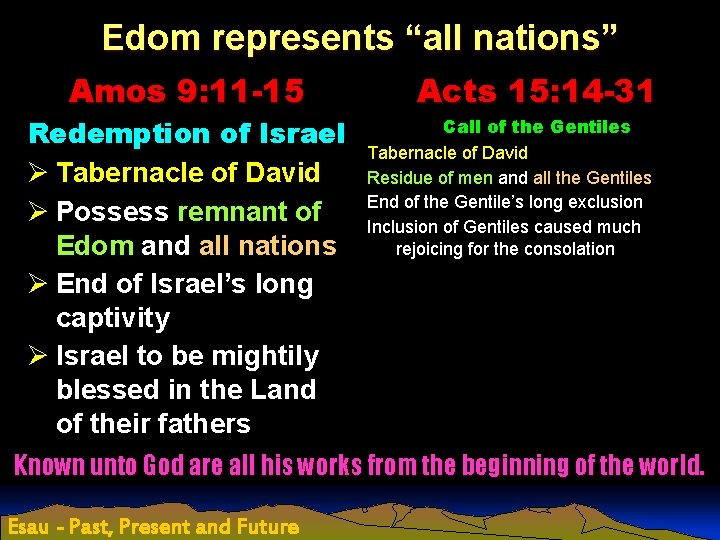 """Edom represents """"all nations"""" Amos 9: 11 -15 Redemption of Israel Ø Tabernacle of"""
