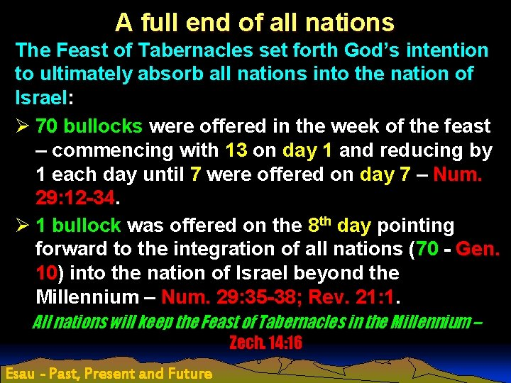 A full end of all nations The Feast of Tabernacles set forth God's intention