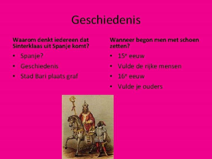 Geschiedenis Waarom denkt iedereen dat Sinterklaas uit Spanje komt? Wanneer begon met schoen zetten?