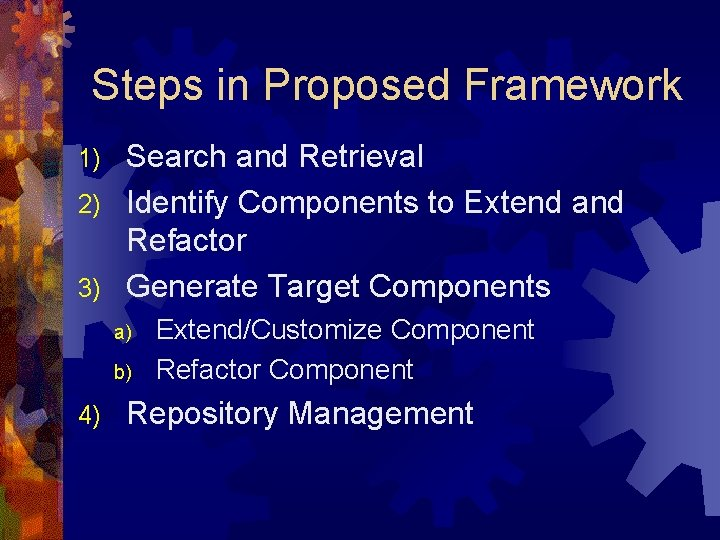 Steps in Proposed Framework Search and Retrieval 2) Identify Components to Extend and Refactor