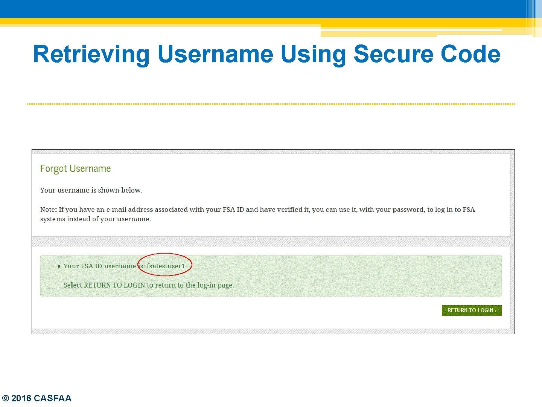 Retrieving Username Using Secure Code © 2016 CASFAA