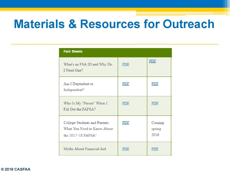 Materials & Resources for Outreach © 2016 CASFAA