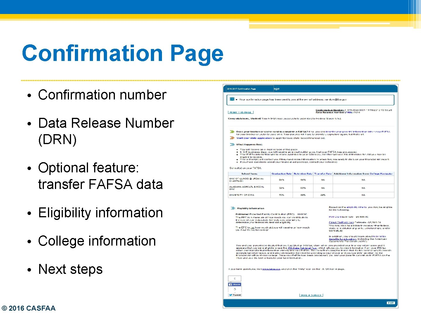 Confirmation Page • Confirmation number • Data Release Number (DRN) • Optional feature: transfer