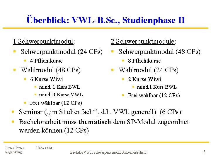 Überblick: VWL-B. Sc. , Studienphase II 1 Schwerpunktmodul: § Schwerpunktmodul (24 CPs) § 4