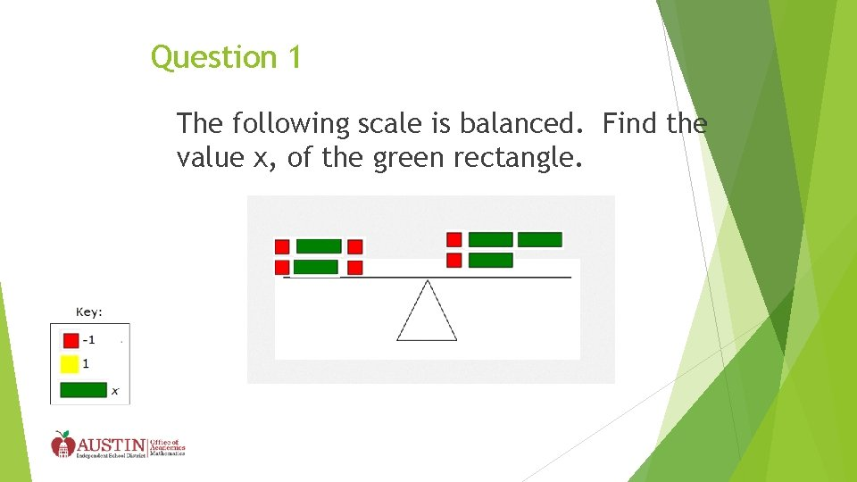 Question 1 The following scale is balanced. Find the value x, of the green