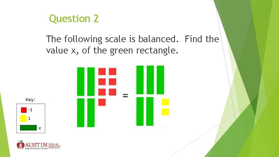 Question 2 The following scale is balanced. Find the value x, of the green